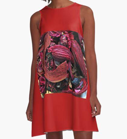 Colour Me Crimson! Pot Pourri Still Life A-Linien Kleid