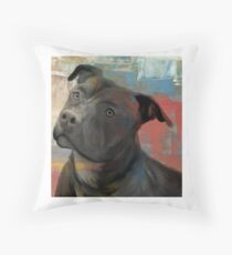 Pit Bull Piglet in Paint Throw Pillow