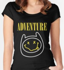 Adventure Time - Nirvana Mashup Women's Fitted Scoop T-Shirt