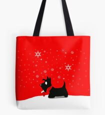 Holiday Scottie Dog Tote Bag