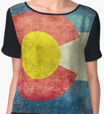 Colorado State Flag with vintage retro style treatment Chiffon Top