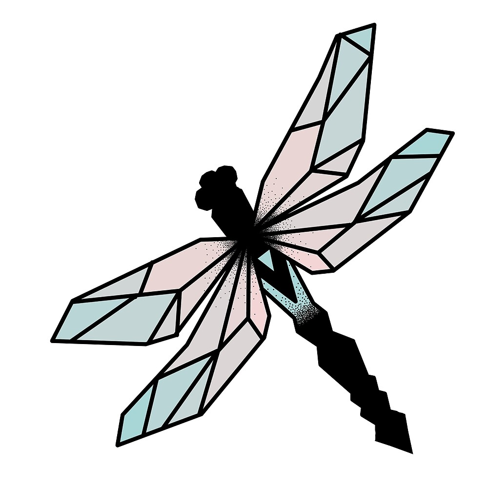 Geometric Dragonfly in Color\