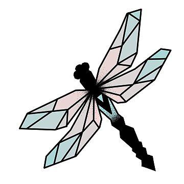 Geometrische Libelle in Farbe von Lil-Salt