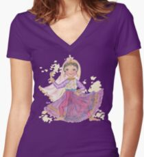 South Asian Dancing Doll Women's Fitted V-Neck T-Shirt