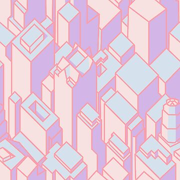 Pastel Geometric Cityscape by arianazhang