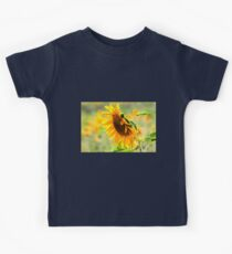 Close up of a Large sunflower in a field of sunflowers Kids Tee