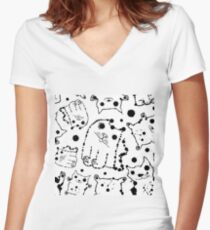 Funny ink splashes cats seamless background. Women's Fitted V-Neck T-Shirt