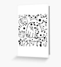 Funny ink splashes cats seamless background. Greeting Card