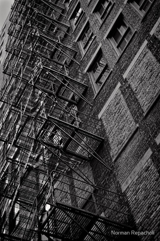 Brown brick fire escape - Chicago by Norman Repacholi
