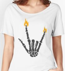 Burning rock skeleton hand Women's Relaxed Fit T-Shirt