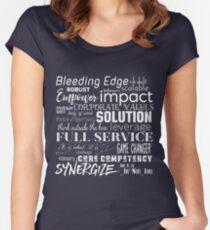 Corporate Buzzwords Business Jargon Typography Art Women's Fitted Scoop T-Shirt