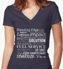 Corporate Buzzwords Business Jargon Typography Art Women's Fitted V-Neck T-Shirt