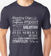 Corporate Buzzwords Business Jargon Typography Art Slim Fit T-Shirt