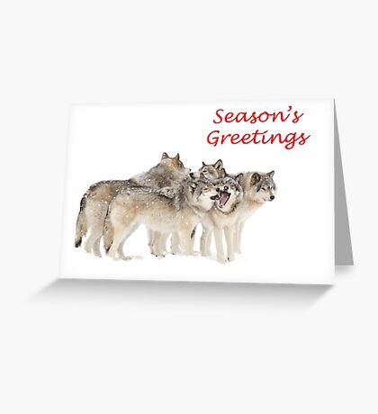Christmas Wolf Pack Greeting Card