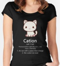 Cute Science Cat T-Shirt Kawaii Cation Chemistry Pawsitive Women's Fitted Scoop T-Shirt