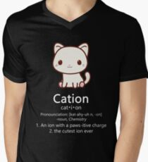Cute Science Cat T-Shirt Kawaii Cation Chemistry Pawsitive Men's V-Neck T-Shirt