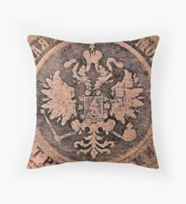 Threadbare coat of arms of the Russian empire Throw Pillow