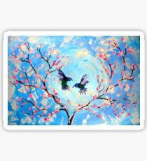Hummingbirds and Cherry Blossom Sticker