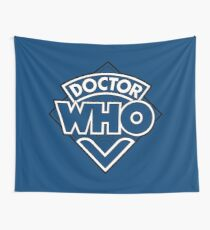 Doctor Who Diamond Logo Blue White Lines. Wall Tapestry
