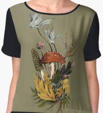 Autumnal Mushroom Woodland Scene Chiffon Top