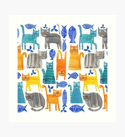 Crazy cats Art Print