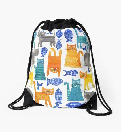 Crazy cats Drawstring Bag