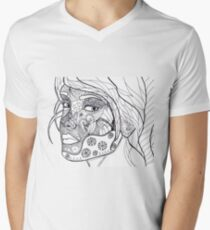 Woman Men's V-Neck T-Shirt