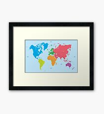 Continents of the World and political Map Framed Print
