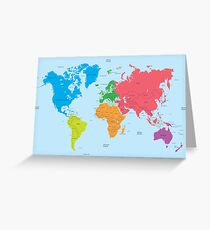 Continents of the World and political Map Greeting Card