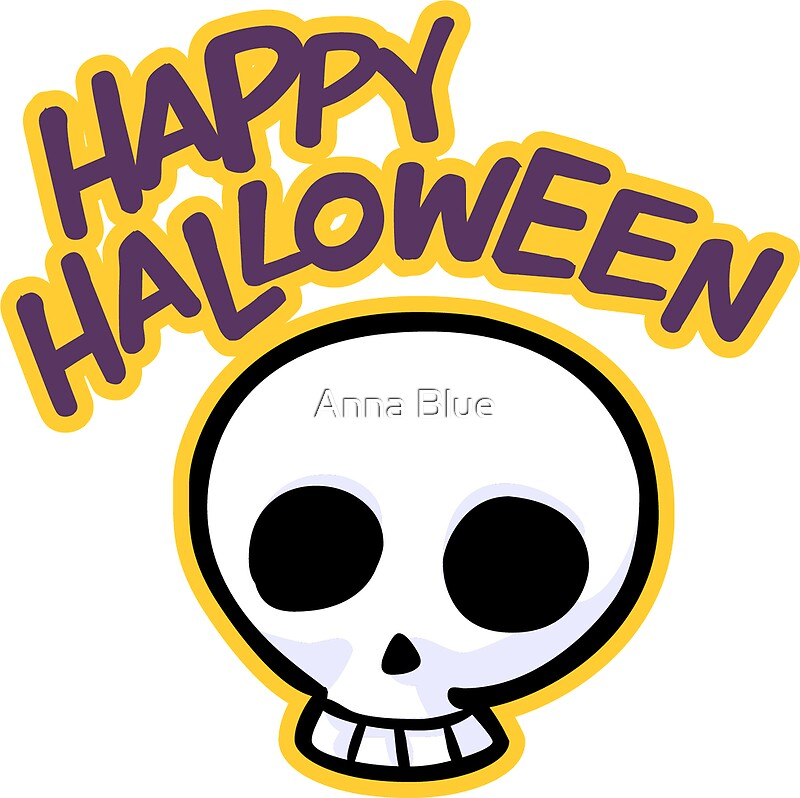 Skull Happy Halloween Sticker