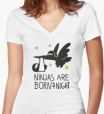 Ninjas Are Born At Night Women's Fitted V-Neck T-Shirt