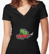 MOTHER 3 FROG IN A CAR - earthbound Women's Fitted V-Neck T-Shirt