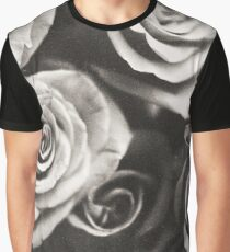 Medium format analog black and white photo of white rose flowers Graphic T-Shirt