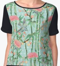 Bamboo, Birds and Blossom - soft blue green Women's Chiffon Top
