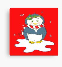 Adorable Christmas Penguin Canvas Print