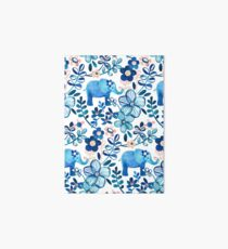 Blush Pink, White and Blue Elephant and Floral Watercolor Pattern Art Board