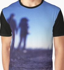 Romantic couple walking holding hands on beach in blue Medium format color negative film photo Graphic T-Shirt