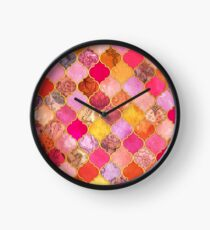 Hot Pink, Gold, Tangerine & Taupe Decorative Moroccan Tile Pattern Clock