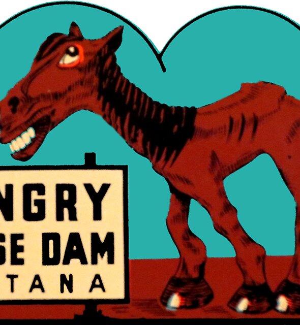 Hungriger Pferdedamm Montana Vintage Travel Decal von hilda74