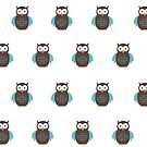 Brown & Blue Owl (Pattern) by Adamzworld