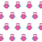 Blue & Pink Owl (Pattern) by Adamzworld