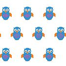 Blue & Orange Owl (Pattern) by Adamzworld
