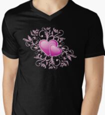 Valentine Decorative T-shirt - Two Hearts, Two Souls on Pink Mens V-Neck T-Shirt