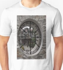 Elliptic View - Beautiful Home Through a Fence Window T-Shirt
