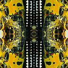 Abstract hand painted yellow and black background. by Lusy Rozumna