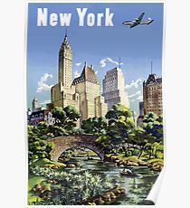 Póster Vintage New York City Skyscrapers Air Travel