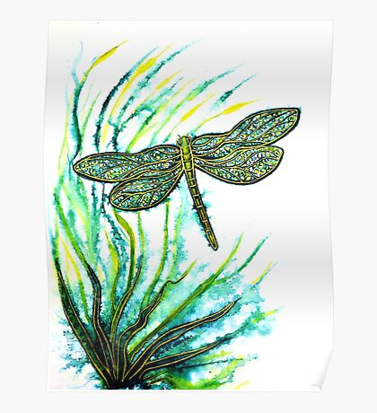 Echoes of Green - Dragonfly Poster
