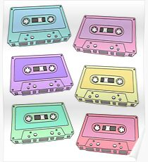 Pastel Cassette Tapes Pattern Poster