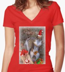 Christmas Squirrel Women's Fitted V-Neck T-Shirt