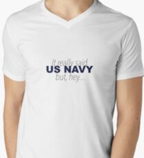 Es sagte wirklich US Navy T-Shirt mit V-Ausschnitt für Männer